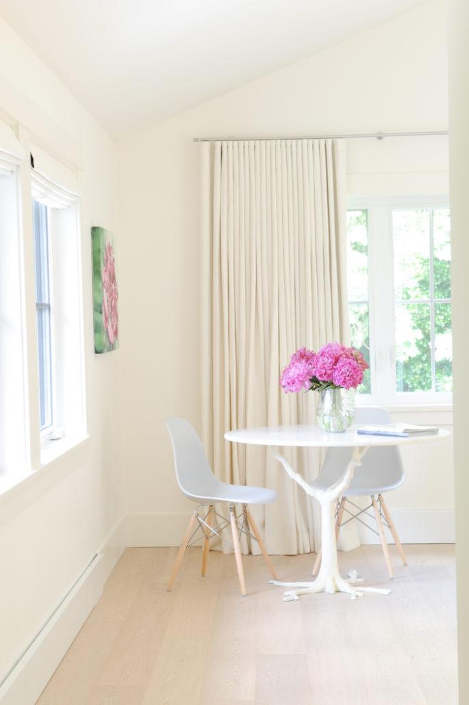 white linen custom draperies