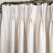 Traditional pinch pleat drapery heading