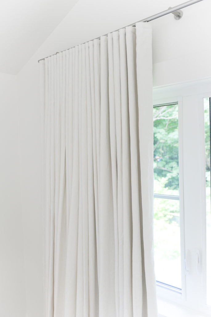 white linen custom draperies
